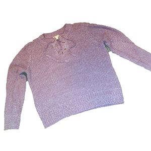 It's Our Time Purple Lace up Tie Sweater Size XL